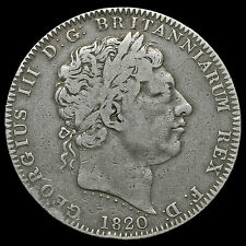 1820 George III Milled Silver LX Crown, Fine