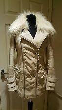 River Island - Faux Fur & Leather Coat Jacket Size 6 - 8