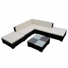 6PC Outdoor Furniture Sectional PE Wicker Patio Rattan Sofa Set Couch Black