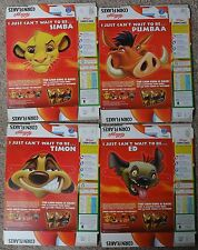 4 x 2003 KELLOGGS CORNFLAKES BOXES DISNEY LION KING FACE MASK SET UNCUT