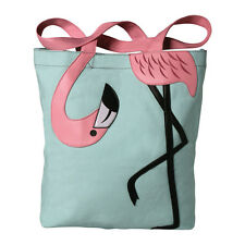 "Fanciful Flamingo Tote Bag - Canvas with 9"" Drop Handles  - Teal"