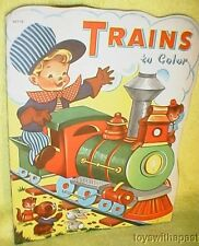 Vintage TRAINS TO COLOR Coloring Book Whitman Publishing 1940
