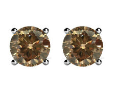 2 Ct. CERTIFIED DARK BROWN CHAMPAGNE NATURAL DIAMOND SOLITAIRE EARRINGS 14k Gold