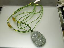 Chinese antique old Jade vintage carving floral design Chinese knot Necklacle