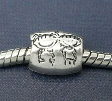 Silver tone BOY and GIRL Charm Bead  for European Bracelet and Necklace C119