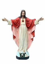 Sacred Heart of Jesus with open arms resin statue cm. 40
