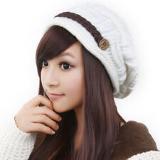 Women Knitted Winter Warm Ski Slouch Oversized Beanie Cap Hat White wool girls