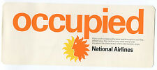 NATIONAL AIRLINES SEAT OCCUPIED SIGN CARD OCUPADO