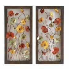 "Pair 30"" Yellow Red Green Flower Metal Wall Art Panel Contemporary Decor"