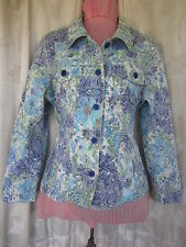 Jacket Paisley Green Multi-Color Long Sleeve Brocade  Top Sz XL (T41)