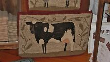 "PRIMITIVE HOOKED RUG PATTERN ON MONKS ""FARM FRIENDS SERIES COW"""