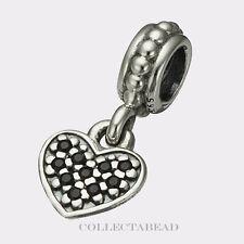 Authentic Pandora Sterling Silver Dangle Heart Pave Black CZ Bead 791023NCK