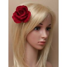 NEW 9cm Deep red fabric claret rose flower fork hair clip fashion womens