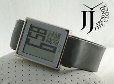 NEW PHILIPPE STARCK BY FOSSIL WATCH CHROME DIGITAL CASE GRAY RUBBER BAND PH1080