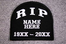 RIP TOMBSTONE CUSTOM MADE 4 YOU Embroidered Biker Vest Patch, MC, motorcycle