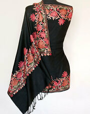 Black Wool Shawl with Crewel Embroidery Kashmir Ari Embroidered India Stole