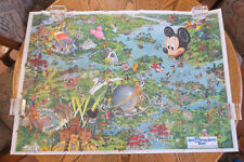 Vintage Original DIsney World Resort Vacation King Epcot Character Poster Map