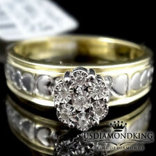 Ladies Womens 10k 2 Tone 100% Real Genuine Diamond Heart Cluster Engagement Ring
