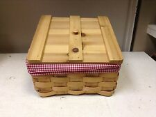 1 LARGE Wood Slant Kids Teen Toy Lego Books CD DVD Wicker Basket lid liner red