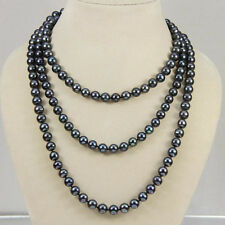 New Fashion 7-8mm Black real akoya Cultured Pearl Necklace 50""