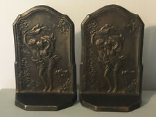 "ANTIQUE c1928 BRONZE Art Nouveau Statue Sculpture BOOKENDS ""THE STORM""-Man-Woman"