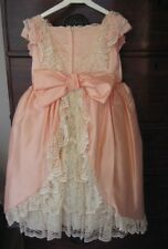 VINTAGE BRIDESMAID DRESS PEACH 3 4 5 6 YR PROM FLOWER GIRL FORMAL COSTUME PARTY