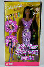 NIB-RARE-COOL CLIPS CHRISTIE BARBIE-2001-INT'L CANADA/CANADIAN-AFRICAN-LONG HAIR