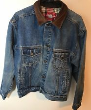 VTG Mens Marlboro Country Store Denim Jean Jacket with Leather Collar Size MED