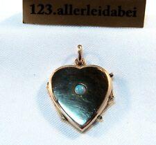 Herz Medaillon 585 Gold mit Opal Rotgold Anhänger / AV 837