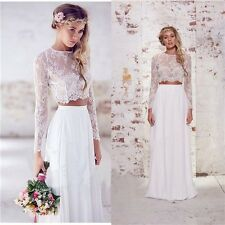 Two Piece Long Sleeve Lace Wedding Dresses White Ivory Long Bridal Gowns Custom