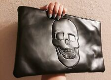 Black Skull Print Faux Soft Leather Goth Punk Minimal Clutch Shoulder Bag Handba