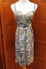 Etro Milano Green Print Spaghetti Strap Dress 40 4 6 Small