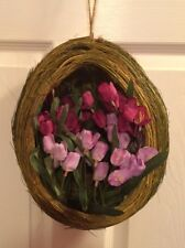 NEW!~Easter/Spring Egg Grass Basket Hanging~Primitive/Country~Twig Wreath Type