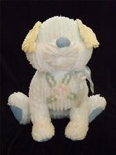 "Superb White Chenille Sitting 16"" Stuffed Dog Puppy w Pastel Colors EXC"