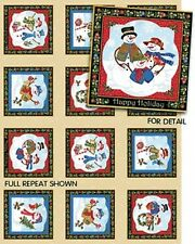Snowman Panels on Ecru Cotton Quilting Fabric - 15 Panels - Christmas