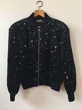 Black Velvet Vintage Bomber Jacket Glitter Vera Mont Silver 16 18 1980s