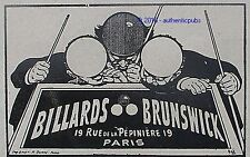 PUBLICITE BRUNSWICK BILLARD TABLE DE JEU DE 1908 FRENCH AD SNOOKER PUB RARE