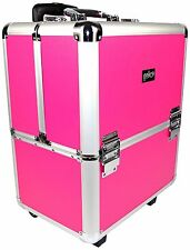 Deep Mobile Hairdresser Makeup Trolley Wheels Vanity Case Box Pink Silver