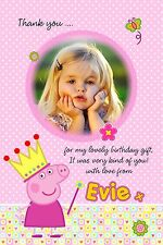 Personalised Thank You Cards Princess Peppa Pig x 5