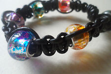 Knotted Leather Surf Bracelet Handmade Glass beads Hippy Chic Nalu/Shamballa