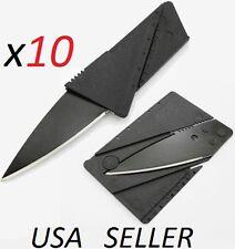 Bulk Lot of 10 Credit Card Knives Pocket wallet knife Survival Steel Blade Tool