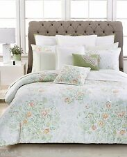 9-Pc Barbara Barry Bouquet Floral King Duvet Set French Country White Mint Green