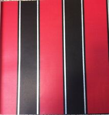 Designer New Trends Wallpaper Red Black Silver Stripes With Free P&p