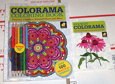 2-Colorama Coloring Book for Adults + BONUS 6 Colored Pencils