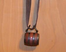 Puppy St. Bernard Wooden Barrel Keg With A Brown Strap And A  Swiss Cross