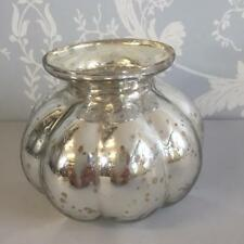 FLUTED MERCURY GLASS ROUND SILVER VASE / TEA LIGHT HOLDER Wedding Christmas Home