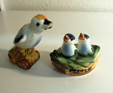 Vintage Ceramic BIRD Mother & NEST of Babies Salt & Pepper Shakers GO WITH
