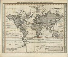 World Isothermal Lines c.1850 old German scientific map