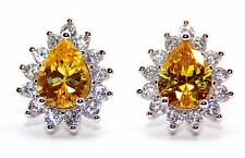 Sterling Silver Citrine And Diamond 2.98ct Pear Cut Stud Earrings (925)