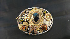 HAND CRAFTED MULTI ORNAMENTED BELT BUCKLE ANGEL WINGS & BUTTERFLY DESIGN